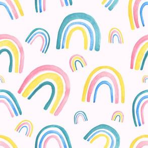 rainbow pattern on pink