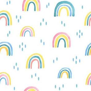 childish watercolor rainbow pattern