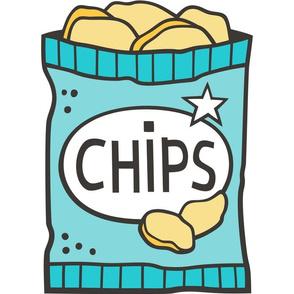 Potato Chips Aqua Blue Pillow Plush Plushie Softie Cut & Sew