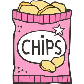 Potato Chips Pink Pillow Plush Plushie Softie Cut & Sew