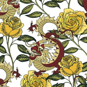 Dragon and roses. White