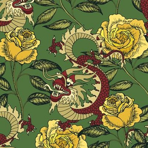 Dragon and roses