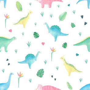 Lovely watercolor dinosaur