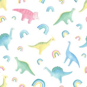 watercolor  dino rainbow