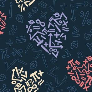 I Love Math Hearts and Symbols
