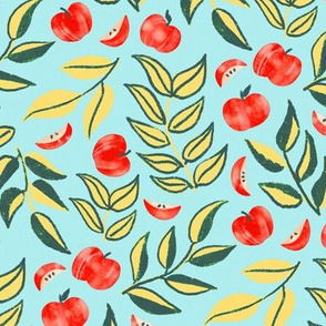 Scattered Apples & Lime Leaves (Large Version, Coordinate)