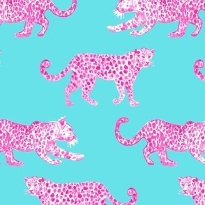 Leopard Parade  Hot Pink on Turquoise