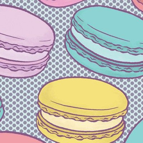 Pop Art French Macarons with Purple Halftone on Blue - Large