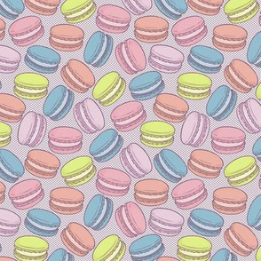 Pop Art French Macarons on Halftone in Retro Comic Colours - Small