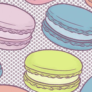 Pop Art French Macarons Halftone in Retro Comics - Large-Scale
