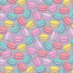 Pop Art French Macarons on Blue Halftone Dot - Small