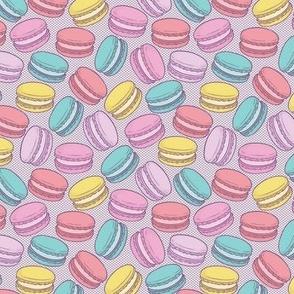 Pop Art French Macarons on Purple Halftone Dot - Small