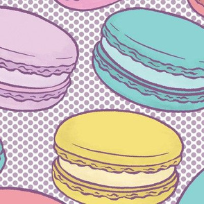 Pop Art French Macarons on Purple Halftone Dot - Large-Scale