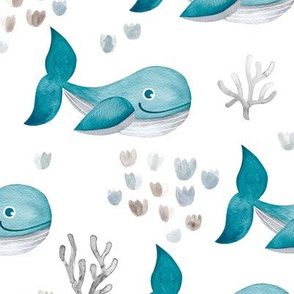 Deep sea watercolor whales and coral fish ocean kids theme nursery cool blue boys