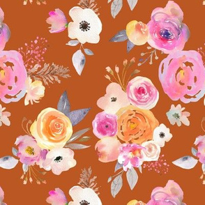Kiss of Summer Watercolor Floral // Burnt Orange