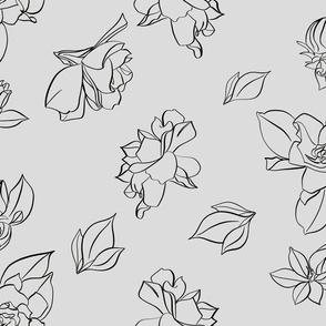 Gardenia Print Light Grey