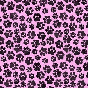 Pawprints Black on Pink