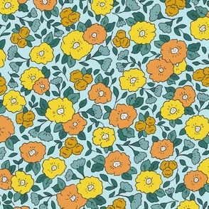 Liberty-Style Floral, yellow-green