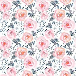 Sophia Floral – Watercolor Blooms, Pink Blush Gray Navy, SMALLER scale