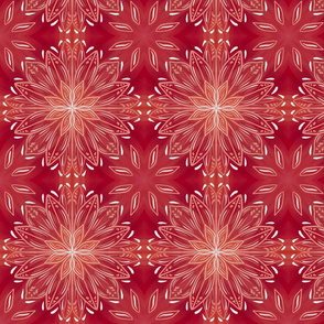 Amber Red Orange Abstract Stars Mandala