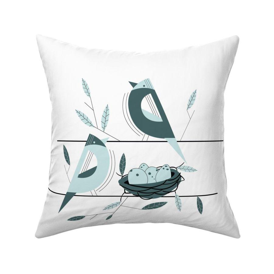 Bird Nest Mint Pine Pillow