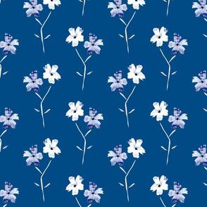 Classic blue modern floral