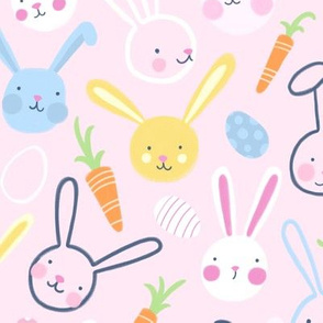 Easter Bunnies with Carrots and Jelly Eggs on Pink by Angel Gerardo
