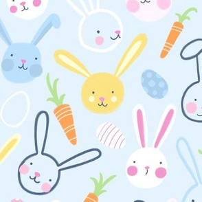 Easter Bunnies with Carrots and Jelly Eggs on Blue by Angel Gerardo
