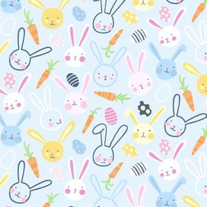 Easter Bunnies with Carrots and Jelly Eggs on Blue - Small Scale by Angel Gerardo