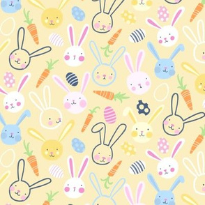 Easter Bunnies with Carrots and Jelly Eggs on Yellow - Small Scale by Angel Gerardo