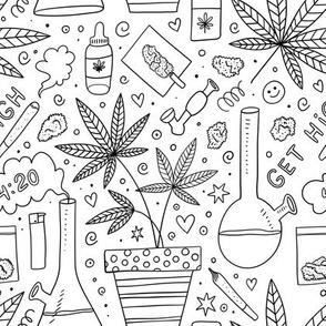 Smoking weed doodle