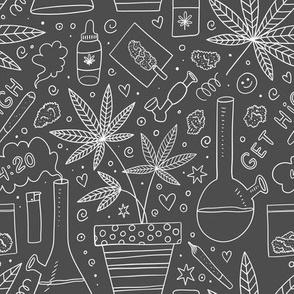 medium scale / smoking weed on chalkboard