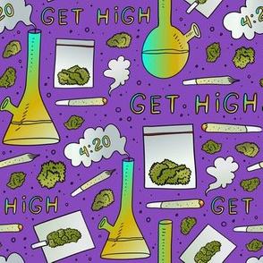 medium scale smoking marijuana purple