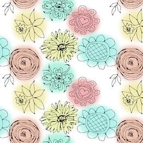 spring floral doodle pink
