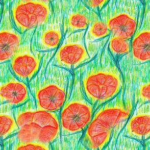 Red poppies on a green background