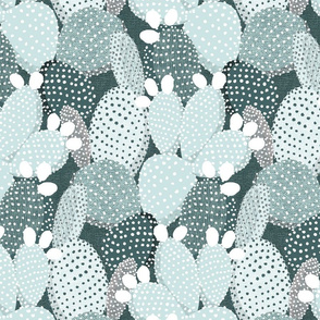 Polka dotted cacti pine and mint - medium size