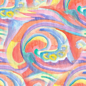 Watercolor waves in pastel colors