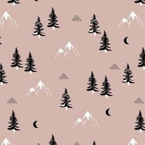 Little mountains and moon pine tree forest nature trip woodland theme neutral beige brown