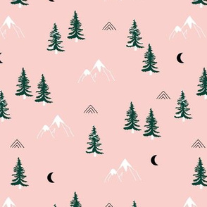 Little snow mountains and moon pine tree forest nature trip woodland theme soft pink green