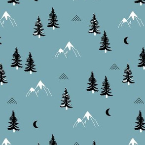 Little snow mountains and moon pine tree forest nature trip woodland nursery boys theme blue black