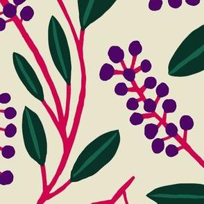 """POKEBERRY purple on cream 18"""""""