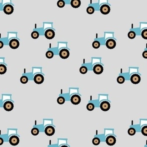 Little tractor farm machine and retro vehicles farmer car bright blue yellow red