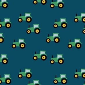 Little tractor farm machine and retro vehicles farmer car navy blue green