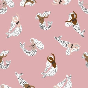 mermaid fabric - girly feminine fabric, painted mermaids - sfx1611 powder pink
