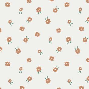 ditsy daisy fabric - simple floral fabric, prairie fabric - sfx1346 caramel