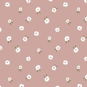 ditsy daisy fabric - simple floral fabric, prairie fabric - sfx1213 almond