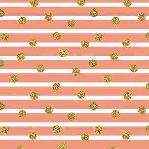 Gold Glitter Dots on Breton Blush Pink