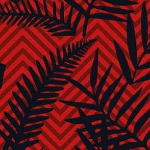 black leaves on red chevron