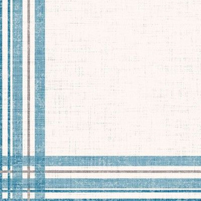 Distressed Windowpane Plaid - Linen and Grunge Texture in Blue, Gray and Cream