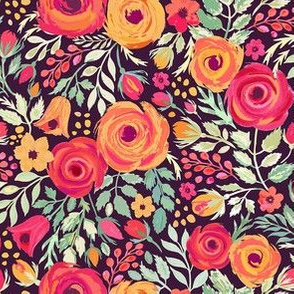 Ditsy roses oranges